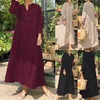 ZANZEA Femme 100% coton Oversize Manche Longue Revers Boutons Loose Robe Dresse
