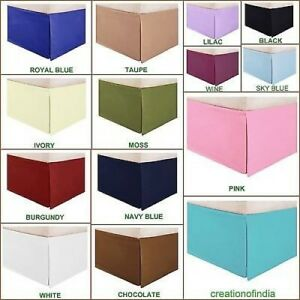 Bed Skirt 1000 TC Egyptian Cotton 12 to 16 Inch Drop Length All Size Solid Color