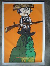 """Elpidio Valdes El Fosil Bachs 1980 icaic Movie Poster Art silkscreen CUBA 20X30"""""""