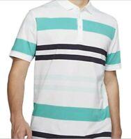 Nike Dri-Fit Player Stripe Golf Polo White Blue AV4172-101 Men's NWT Size Large