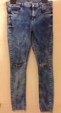 Topshop Moto Leigh Acid Wash Skinny Ripped Knee Jeans Raw Hem W 30 L 29 12 40