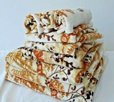 10 PC Set Vintage Vera Neumann Burlington Towels MCM Brown Shadow Fern Butterfly