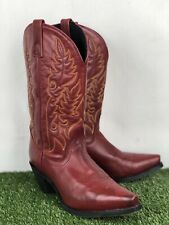Laredo Cowboy Western Boots Snip Toe Womens SZ 9M Burnised Red Leather A29