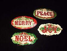 Punch Studio 12 Glittered 3-D Merry Noel Christmas Gift Tags 14772 Decoupage