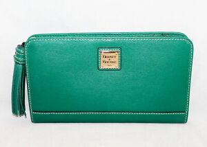 DOONEY & BOURKE Alice Green Cross Grain Leather Tassel Clutch Purse Wallet