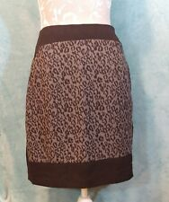 VERA MODA Skirt UK 12 Black & Gray Leopard Print Panel Straight Pockets Short