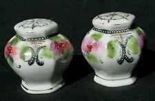 Antique China Salt & Pepper Shaker Set w/handpainted pink/floral design