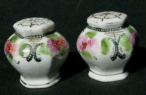 Antique China Salt & Pepper Shaker Set w/hand painted pink/floral design