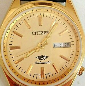Men's 1980's VINTAGE CITIZEN 21 JEWELS 8200 AUTOMATIC DAY/DATE GOLD PLATE Watch