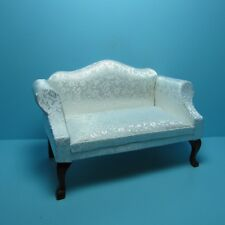Dollhouse Miniature Queen Ann Love Seat with White Satin Fabric ~ T3163