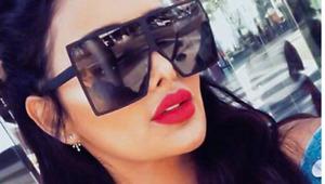Womens Laides Oversized Square Flat Top Fashion Sunglasses Shade UV400