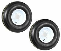 TWO New 5.70-8 Heavy Duty 6PLY Trailer Tires on 4 Hole White Wheels Load Range C