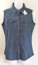 NWT Wrangler Womens Blue Denim Pink Stitching Snap Front Vest Size SMALL S New