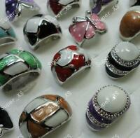 5pcs multicolor enamel rings wholesale jewelry mixed lots free shipping