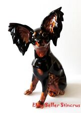 Russian Toy Terrier dog Color black & tan Author's Porcelain figurine + Gift Box