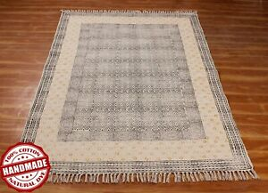 6x9 ft Hand Block Printed Bohemian Flat Weave Yoga Mat Indian Handmade Area Rug