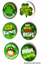Lot of 6 Novelty St Patrick's Day Irish Buttons Assorted Pin Buttons New