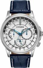 Citizen Eco-drive Bu2020-02a Calendrier Silver Watch Blue Leather Strap 44mm