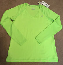 Women's Under Armour Fitted Heatgear Neon Lime Green LS V-Neck Sz L NWT