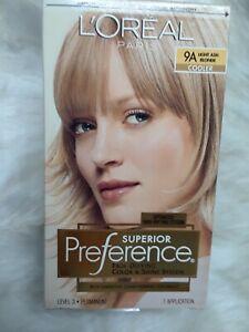 L'Oreal Paris SUPERIOR PREFERENCE Hair Color, Light Ash Blonde COOLER 9A *NIB