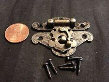 Sets Box Case Lock mini dollhouse Antique  Bronze wood box latch hinge small b24