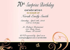 30 Invitations Adult Birthday Party 70th or Any Age Coral Floral Personalized
