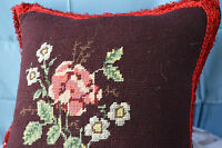 Vintage Pillow Needlepoint Floral Square Red Trim Velvet Backing