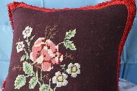 Vintage Pillow Needlepoint Floral Square Red Trim Velvet Backing