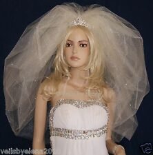 "Wedding Bridal Veil Elbow Bubble Puffy Full 2 Tiers 28"" 32"" Length Crystals"
