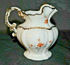 Vintage Porcelain Pitcher Trimmed in Gold Signed Elisa on Bottom