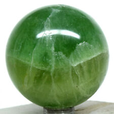 52mm Yellowish Green Fluorite Sphere Sparkling Natural Crystal Stone Madagascar