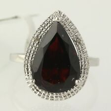 NEW Large Garnet Cocktail Ring 925 Sterling Silver Diamond Accents Halo Women's