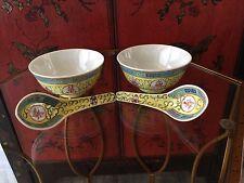 Vintage Yellow Chinese Famille Rose Mun Shou Longevity Enameled Bowls & Spoons