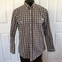 R M Williams Stockyard Shirt Relaxed Fit S Button Down Brown Check Long Sleeve