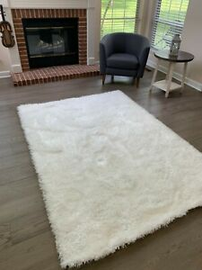 Shag Shaggy White Color Area Rug Carpet Rug Solid Soft Decorative NEW Size 5'x8'