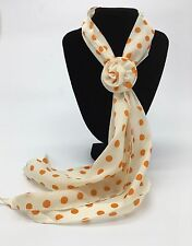 Small White with Orange Spots Scarf with Removable Flower Clip New