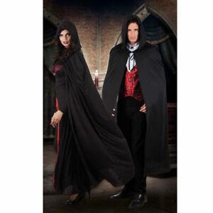 Umhang mit Kapuze, schwarz, 180cm Vampirumhang Hexenumhang Zauberer