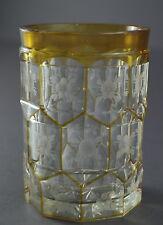 Überfangglas, Becher mit geschliffenem floralem Dekor   (# 5296)