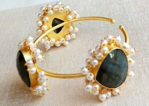 Handmade Gold Polished Faceted Labradorite-Pearl Stone Cuff-C-005A-5