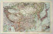 China & Japan - Original 1913 Map by Meyers. Korea. Antique.