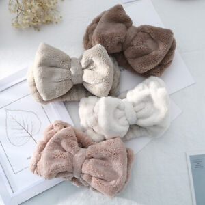 Soft Coral Fleece Bow Headband Women Makeup Wash Face Stretchy Hairlace Bandeau