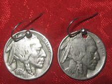 SOUTHWEST REAL AMERICAN USA 1936  BUFFALO INDIAN HEAD NICKEL COIN EARRINGS