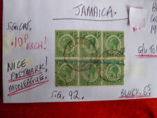 JAMAICA KGV  BLOCK OF 6 1/2d STAMP NICE POSTMARK MONEAGUE  SG92 G/U TO F/U