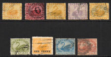 Western Australia 9 Swan Stamps Used (few faults)