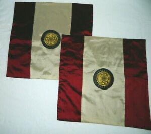 "2 Piece Sun Dragon Maroon/Brown & Beige Pillow Shams Cover 17"" X 17"" NEW"