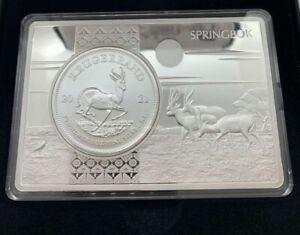 Krügerrand Münze 1 oz Silber 999er Springbock 2021 im 3 oz Barren NEU mit Etui