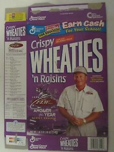 Empty Crispy WHEATIES 'n Raisins Cereal Box 1998 ANGLER of the YEAR Denny Brauer