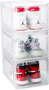 Shoe Storage Boxes 3 Pack Sneaker Ultra Clear Acrylic Plastic Display Drop Front