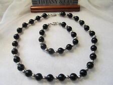 Vintage Tiffany & Co. Black Onyx & Sterling Silver Bead Choker Necklace~Bracelet