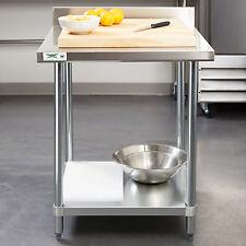30 X 30 Stainless Steel Work Prep Shelf Table Commercial 4 Backsplash Nsf